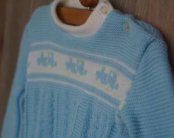 1970s Newborn Japanese Train Engine Sweater Set