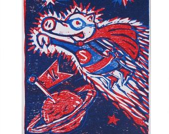 Piggy Superhero, art print, handmade, linocut, limited and signed edition