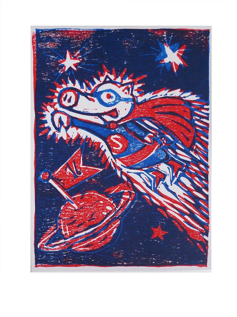 Piggy Superhero art print handmade linocut limited and image 0