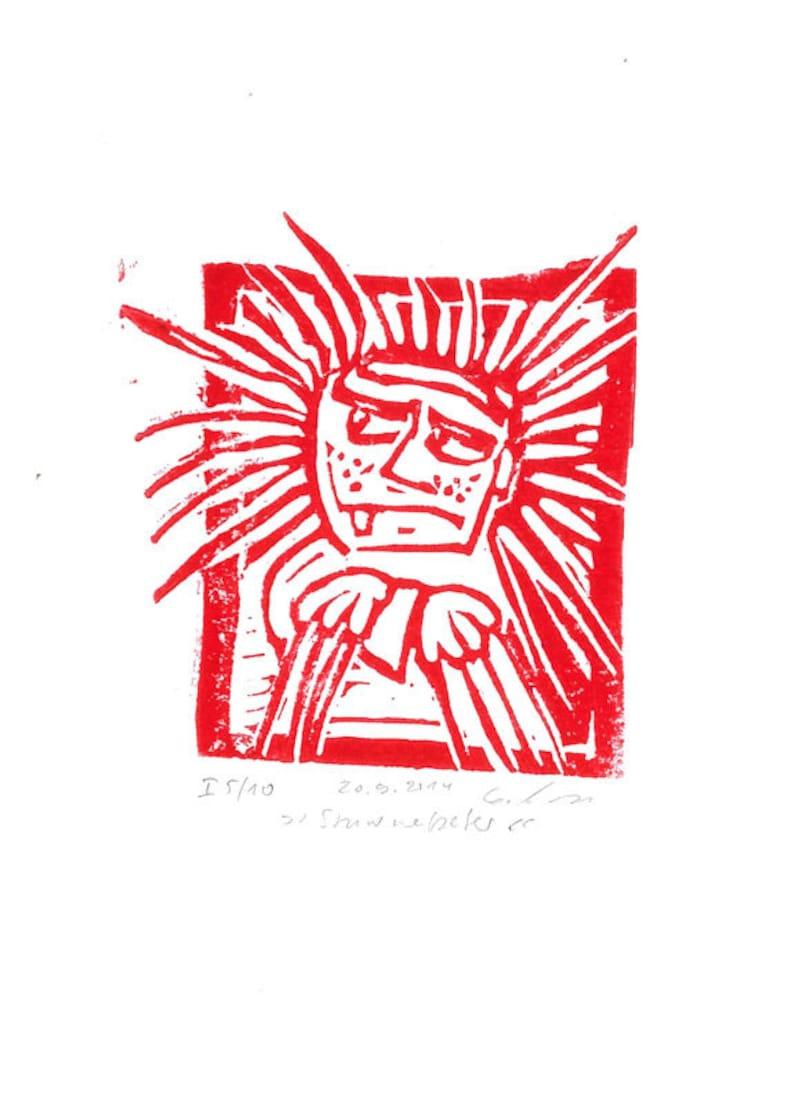 Shock-Headed Peter art print handmade linocut limited and image 0