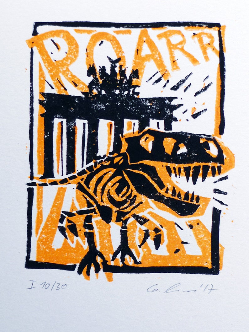 linocut limited and signed edition art print handmade T-Rex Tristan of the Archaeological Museum Berlin in front of the Brandenburg Gate