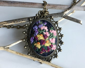 Hand embroidered pendant, necklace - Summer Meadow