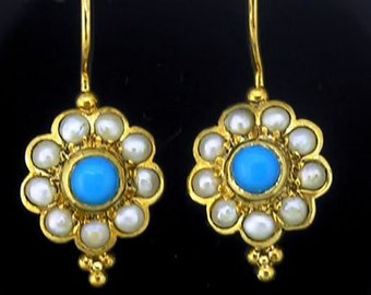 E149 Genuine 9K, 10K, 14K, 18K SOLID Gold NATURAL Turquoise & Pearl Cluster Drop Earrings- Customization with other gemstones available