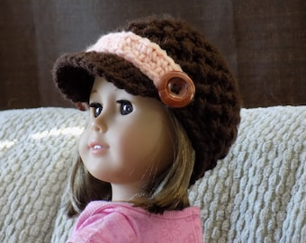 Crochet Doll Clothes, Newsboy hat for 18 inch dolls, Made in Canada