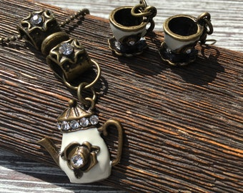 TEA/COFFEE LOVERS Jewelry Set, Necklace and Earrings