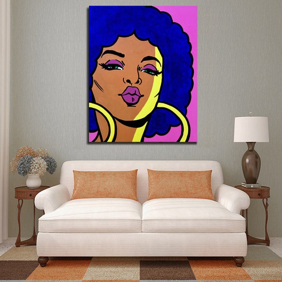 Purple Kiss Painting Home Decor Blue Yellow Pink Wall Etsy