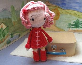 Strawberry Girl, Doll, Amigurumi, Crochet Doll, Unique Piece, Children, Toys, Decoration, Handmade, Pink, Petit Peste