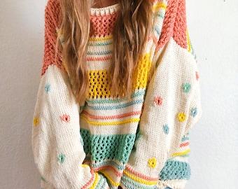 Summer daisy cotton pullover sweater knitting pattern