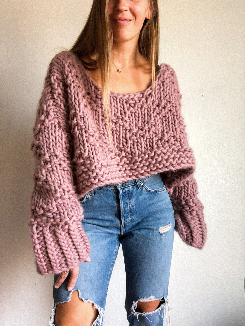 Go With The Flow Crop wool sweater knitting pattern image 0