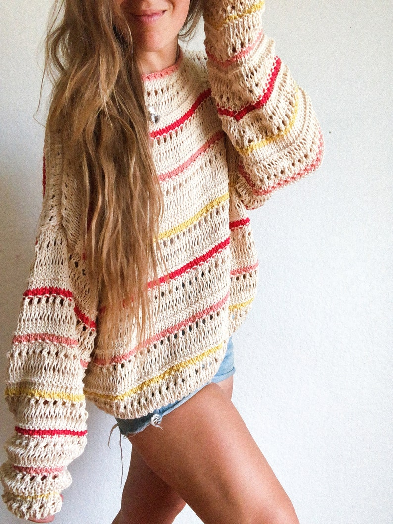 Inez Summer Sweater pullover cotton knitting pattern image 1