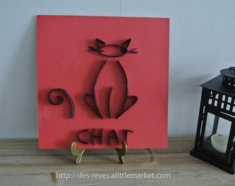 Frame - Black cat on red background