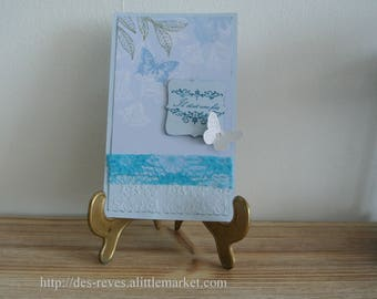 Card - Once upon a time - blue and butterflies