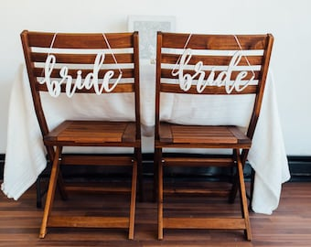 Bride and Bride Chair Signs, Set of Two