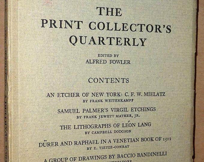 The Print Collector's Quarterly October 1937 Volume 24 Number 3 - Art Artists Vintage Journal Bulletin Magazine