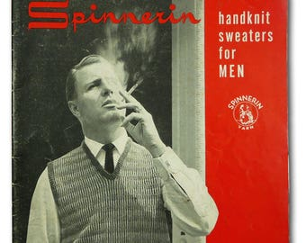 Spinnerin Hand Knit Sweaters for Men - Vol. 124 - Hand Knitting Fashion Patterns Book Vtg - 1954