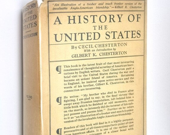 A History of the United States by Cecil Chesterton 1919 1st Edition Hardcover HC w/ Rare Dust Jacket DJ - George H. Doran