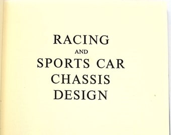 Racing and Sports Car Chassis Design by Michael Costin & David Phipps 2nd Edition Hardcover HC 1975 Robert Bentley Inc