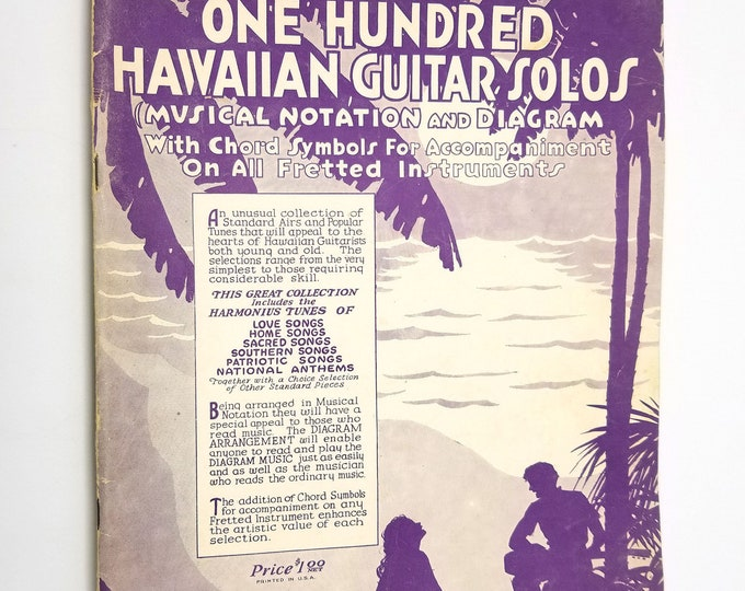 Smith's One Hundred Hawaiian Guitar Solos Kamiki / Wm. J. Smith 1932 Sheet Music / Songbook