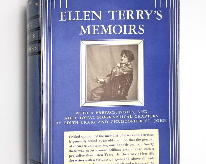 Ellen Terry's Memoirs 1932 1st Edition Hardcover HC w/ Rare Dust Jacket DJ - Putnam - British Shakespearean & Comic Actress