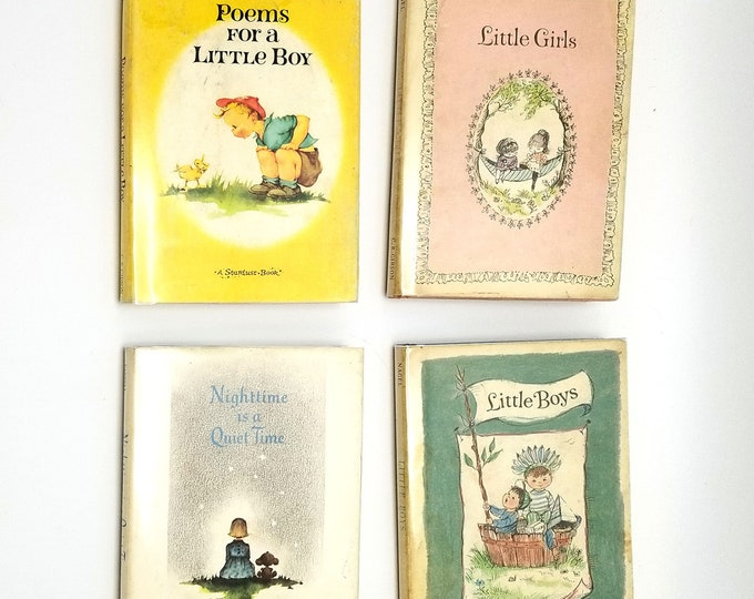 Set of 4 C.R. Gibson Co. Children's Books: Little Boys, Poems for a Little Boy, Little Girls, Nighttime is a Quiet Time 1960s HC w/ DJ