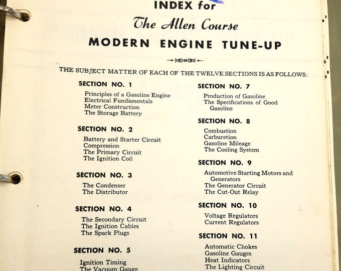 The Allen Course for Modern-Engine Tune-Up 1947 12-Part Guided Study Instruction Kalamazoo, MI