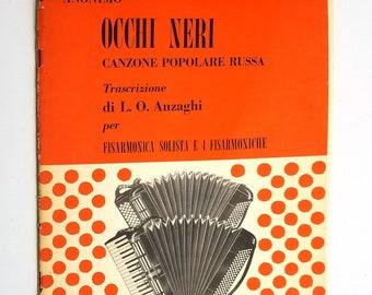 Accordion Sheet Music: Occhi Neri Canzone Popolare Russa (Anonimo) Luigi O. Anzaghi 1949