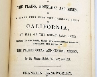 Scenery of the Plains, Mountains and Mines: or a diary kept upon the overland route to California by Franklin Langworthy 1855