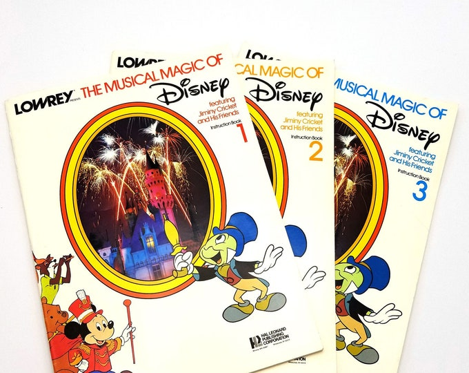 Lowrey Presents The Musical Magic of Disney Featuring Jiminy Cricket and His Friends Instruction Booklets 1, 2, & 3 Organ Song Books 1976