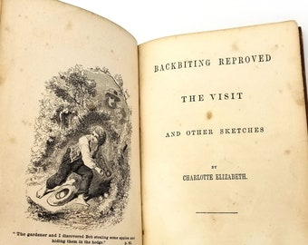 Antique Religion Book: Backbiting Reproved - The Visit and Other Sketches by Charlotte Elizabeth Hardcover Ca 1880 Morals