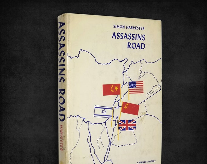 Vintage Mystery: Assassins Road by Simon Harvester 1st Edition Hardcover w/ Dust Jacket 1965 Walker and Company