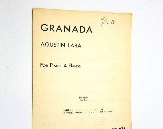 Granada (For Piano 4 Hands) Sheet Music Duet by Agustin Lara 1932 Southern Music Co.