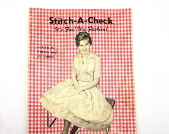 Stitch-A-Check Book #1 Betty's Fabrics Red Bud IL 1961 David Alexander, Inc. - Cross Stitch Gingham Fashion