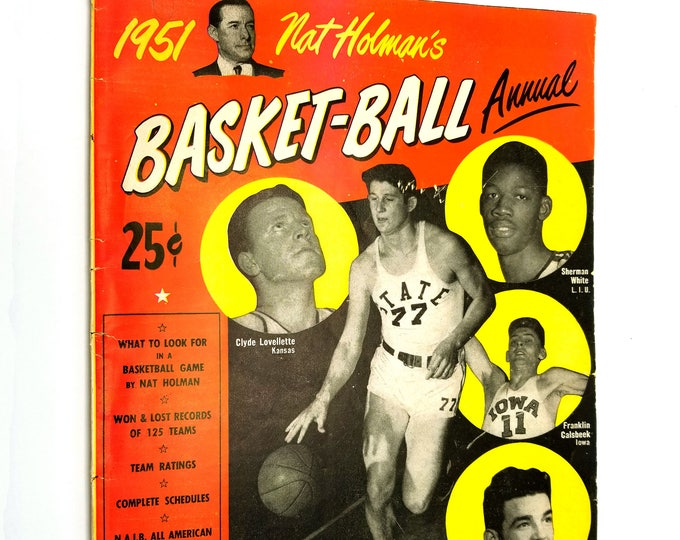 Nat Holman's 1951 Basket-Ball (Basketball) Annual Volume 1, No. 1 College All American Team NCAA NC State Sam Ranzino