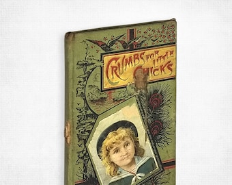 Antique Children's Book: Crumbs for Little Chicks by Mrs. R. M. Wilbur Hardcover 1885 American Baptist Publication Society