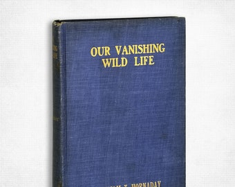 Antique Environmental Book: Our Vanishing Wild Life by William T. Hornaday 1st Edition Hardcover 1913