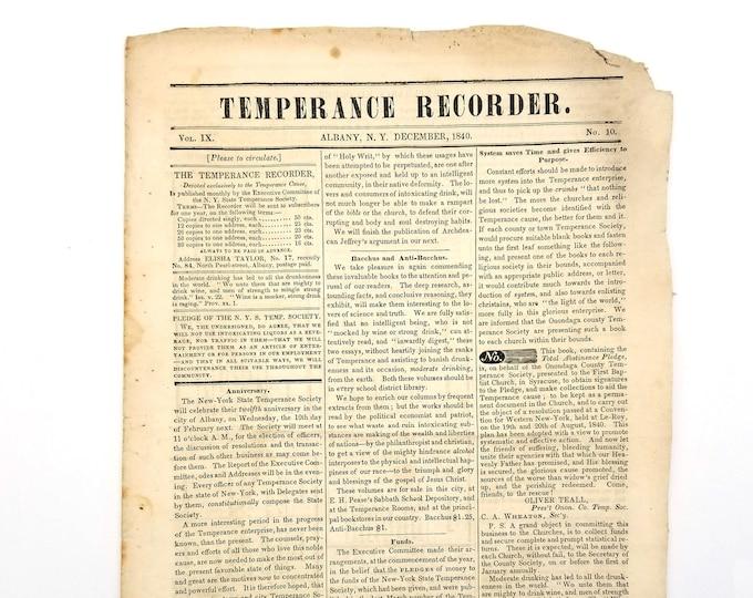 Temperance Recorder (Vol. IX, No. 10, December 1840) New York State Temperance Society, Albany, NY