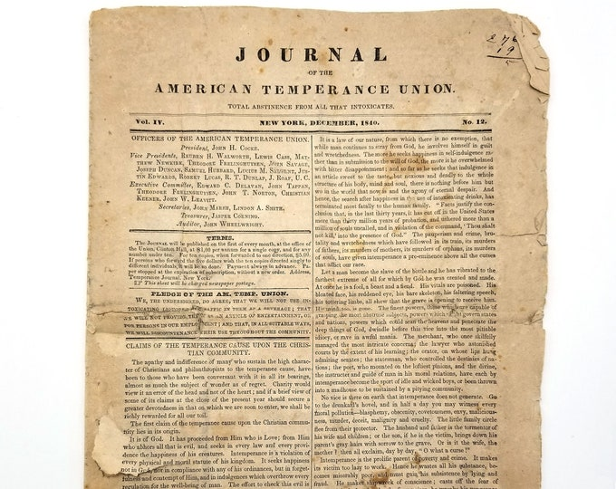 Journal of the American Temperance Union (Vol. IV, No. 12, December 1840) Alcohol Prohibition 19th Century