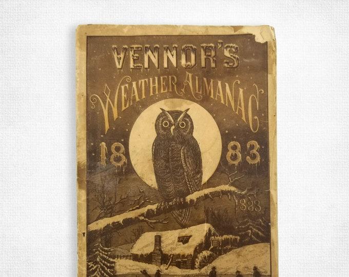Antique Reference: Vennor's [Weather] Almanac for 1883 Henry G. Vennor Published by August Vogeler