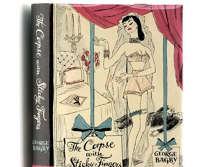 Vintage Mystery: Corpse with the Sticky Fingers 1st Edition in Dust Jacket 1952 by George Bagby - Crime Club
