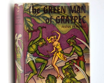 Vintage Science Fiction: The Green Man of Graypec in Dust Jacket 1950 by Festus Pragnell