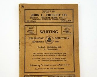 Whiting [Indiana] Telephone Directory, September 1926