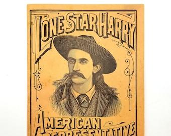 Lone Star Harry: American Representative Scout ca. 1894 Wild West Show Cowboy - Marksman - Revolver King