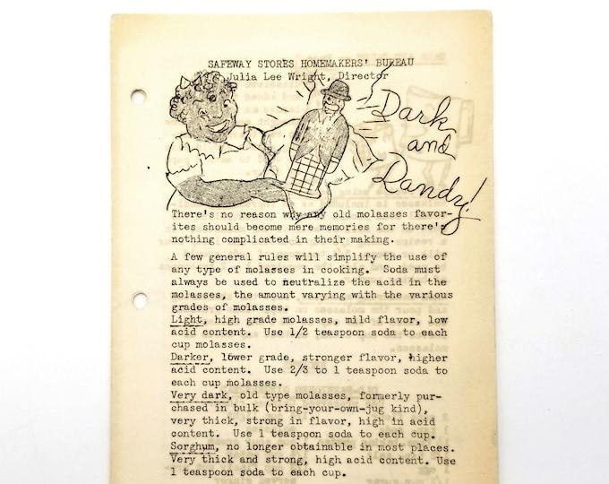 Vintage Cookbook/Recipes: Dark and Dandy! 1930s Julia Lee Wright - Safeway Kitchens - Molasses