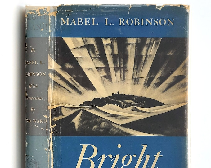 Bright Island SIGNED in Dust Jacket 1937 by Mabel Robinson illustrated by Lynd Ward - Newbery Honor - Maine Coast - Novel