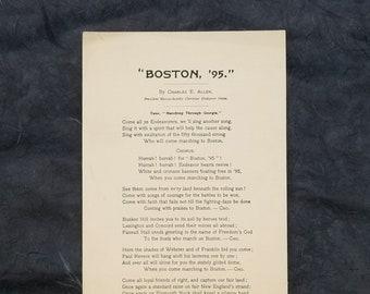 Boston '95 Song Lyrics by Charles E. Allen - Convention Christian Endeavorers - Massachusetts Christian Endeavor Union 1895