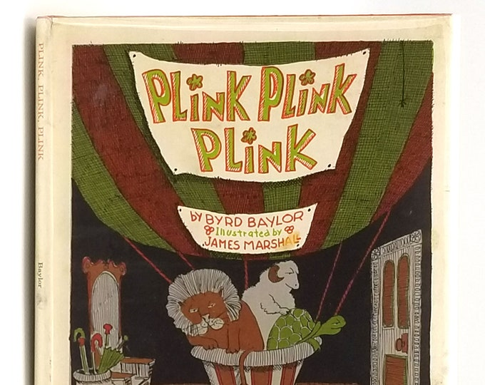 Plink Plink Plink 1st Edition in Dust Jacket 1971 by Byrd Baylor illustrated by James Marshall - Children's - Night Sounds