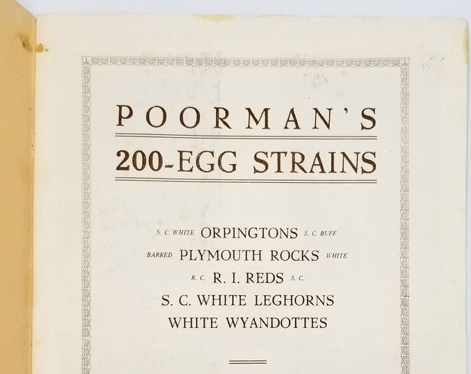 Vintage/Antique Chicken Catalog: Poorman's 200 Egg Strains 1921 by John G. Poorman - Poultry - Agriculture - Brooding - Hens - Husbandry
