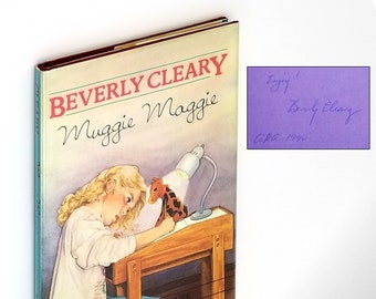 Muggie Maggie SIGNED 1st in Dust Jacket 1990 by Beverly Cleary illustrated by Kay Life - Handwriting, Penmanship, Oregon Author