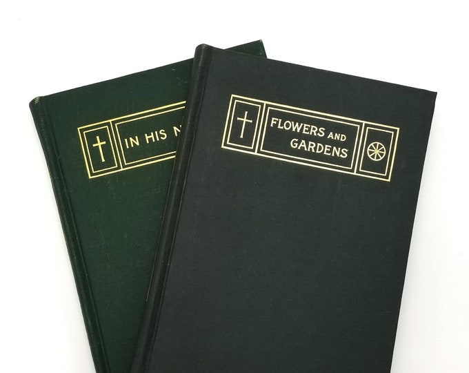 Set of 2 Antique Theosophy Books: In His Name & Flowers and Gardens by C. Jinarajadasa  Hardcover 1913