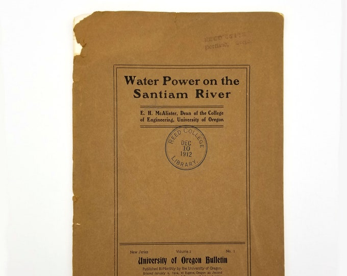 Water Power on the Santiam River by E.H McAlister 1904 Oregon Dams Linn County Marion County Hydrography